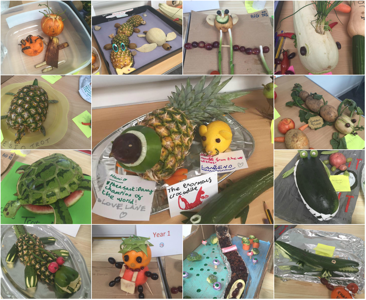Roald Dahl themed funky fruit and veg