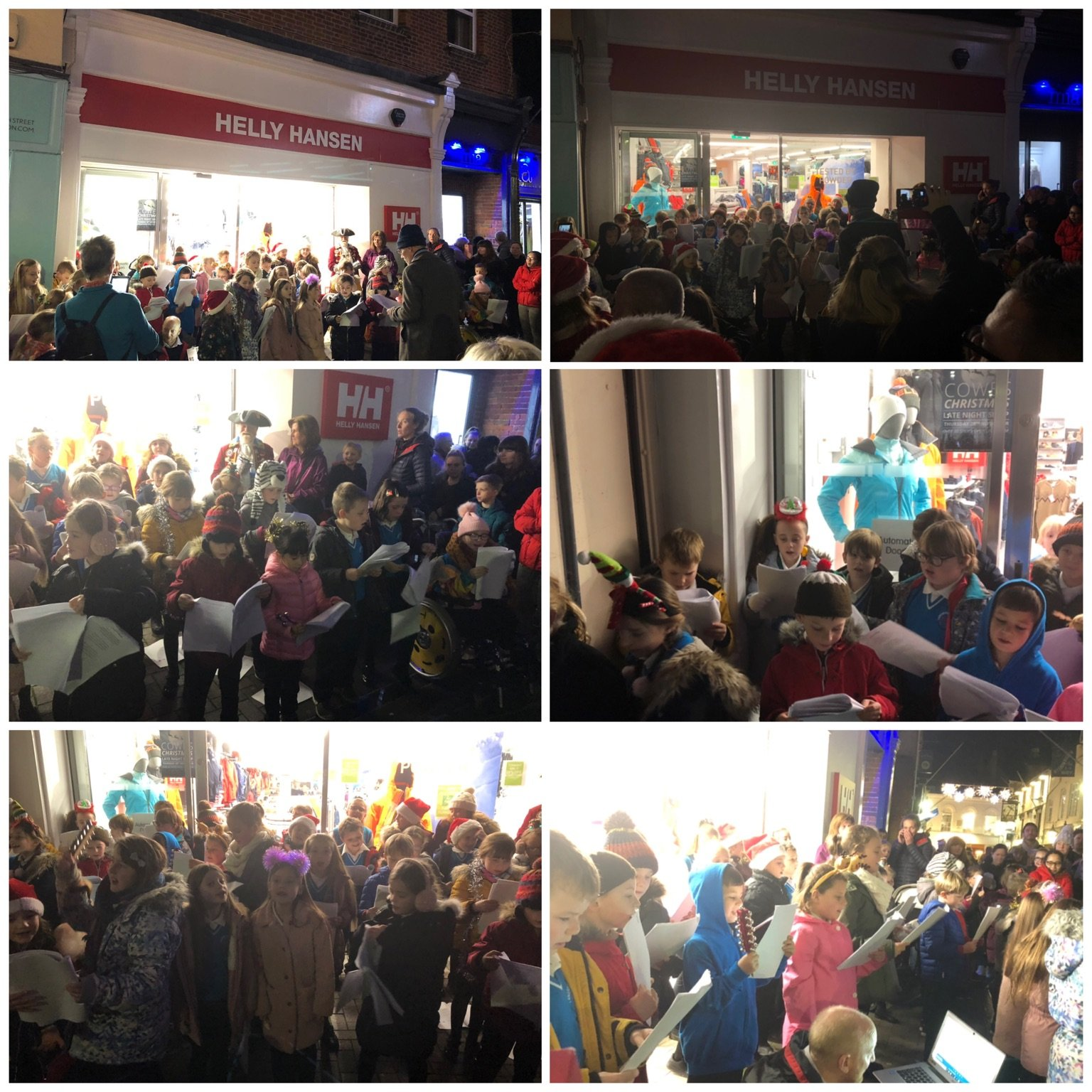 Children perform in Cowes High Street for late night shopping